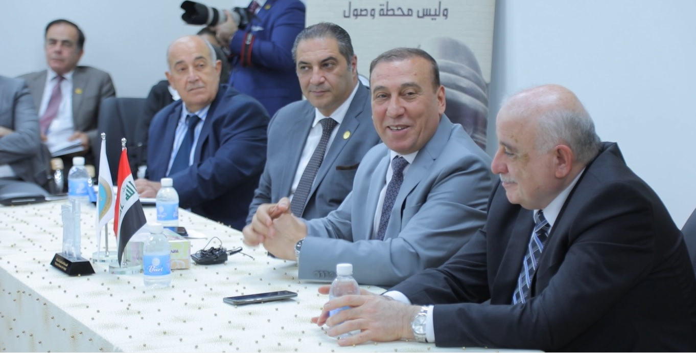 A part of the dialogue session held by the Iraqi Bank for Trade and the granting of loans to citizens wishing to buy solar applications at the initiative of the adviser to Prime Minister Abdul Hussein Al-Henin. AlHunain_20